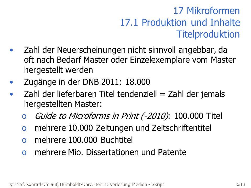 17 Mikroformen 17.1 Produktion und Inhalte Titelproduktion