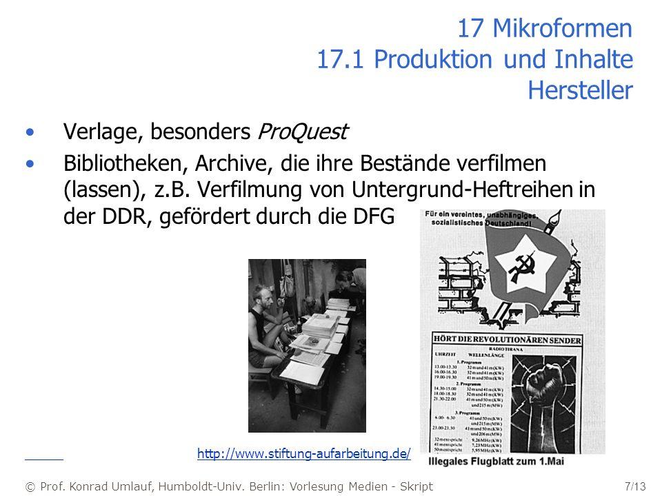 17 Mikroformen 17.1 Produktion und Inhalte Hersteller