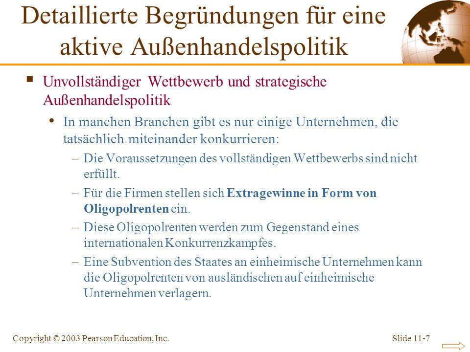 Detaillierte Begründungen für eine aktive Außenhandelspolitik