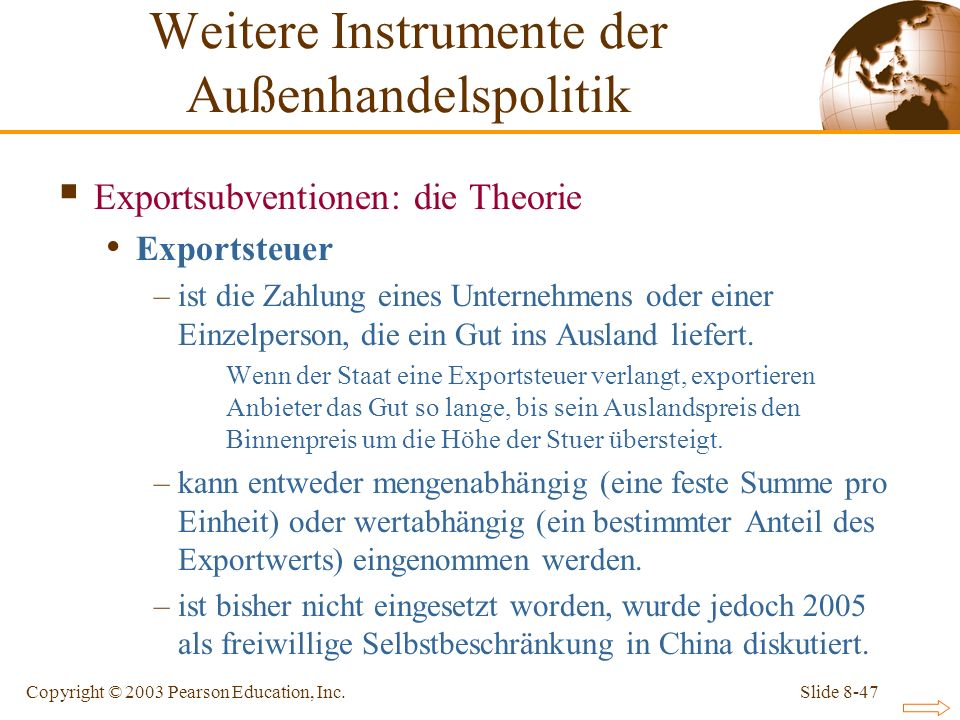 Weitere Instrumente der Außenhandelspolitik