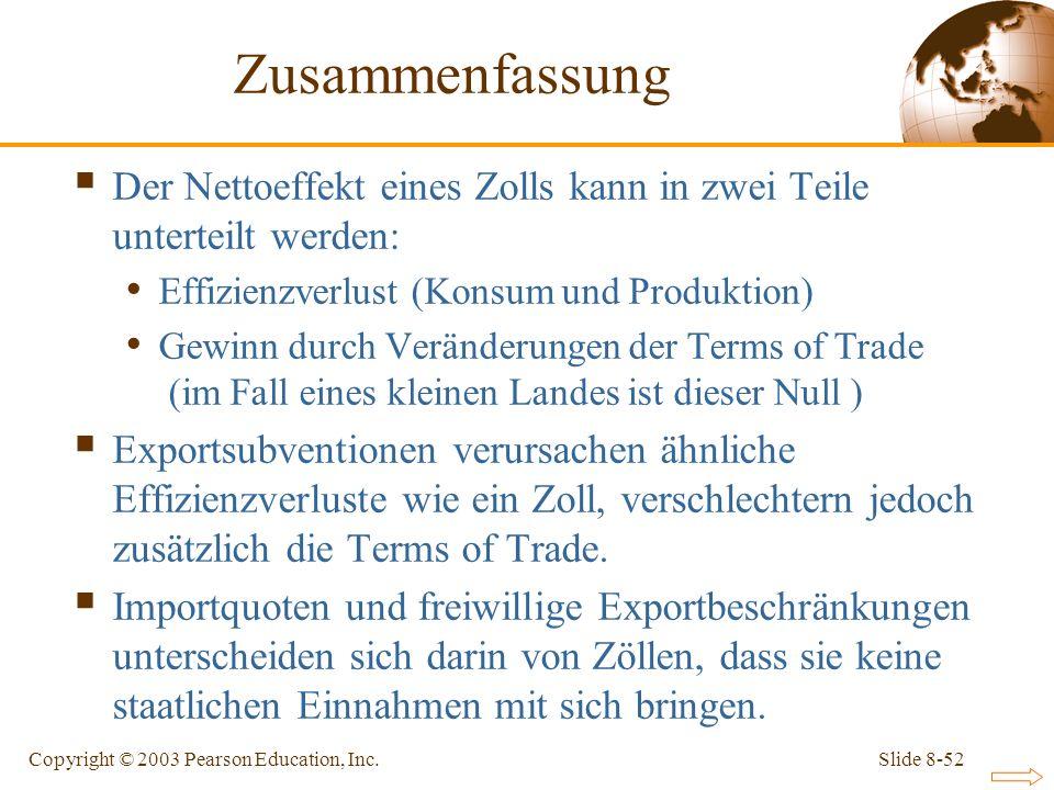 Zusammenfassung Der Nettoeffekt eines Zolls kann in zwei Teile unterteilt werden: Effizienzverlust (Konsum und Produktion)