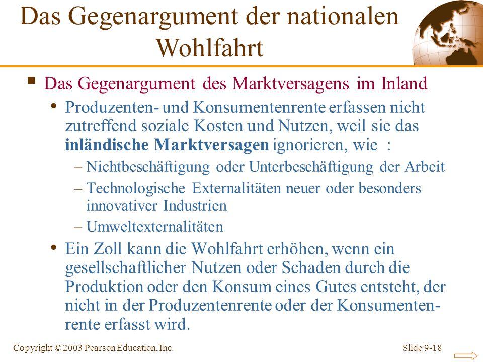Das Gegenargument der nationalen Wohlfahrt