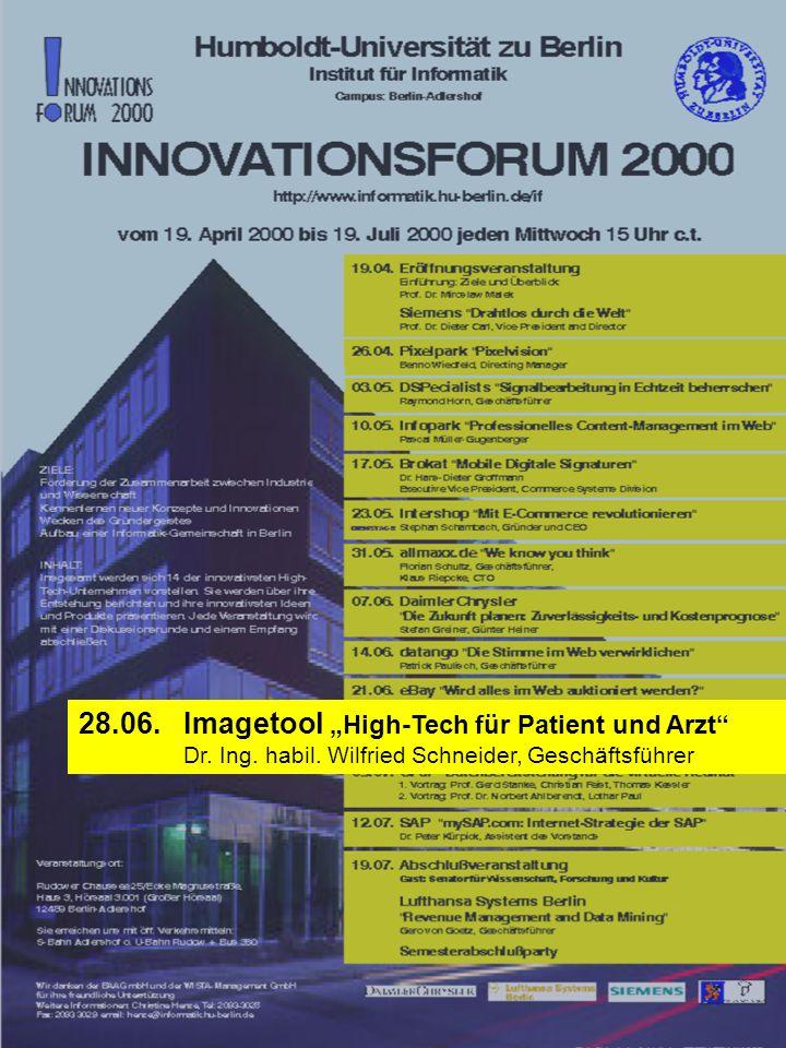 """28.06. Imagetool """"High-Tech für Patient und Arzt"""