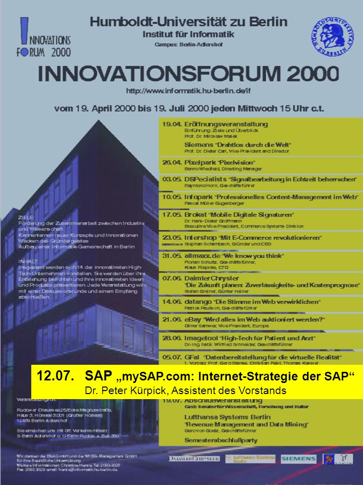 "SAP ""mySAP.com: Internet-Strategie der SAP"