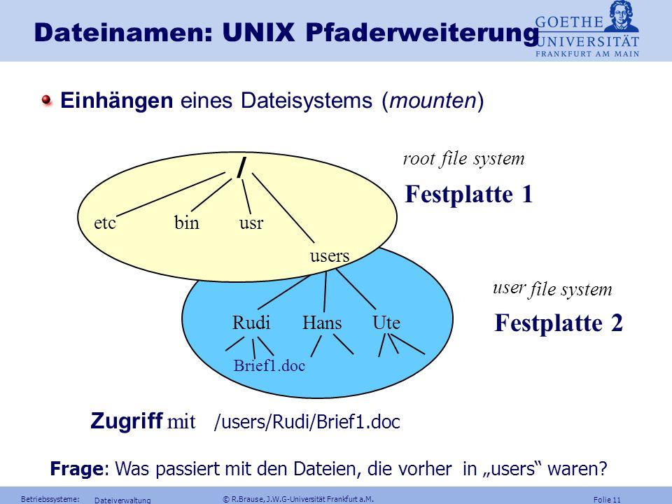 Dateinamen: UNIX Pfaderweiterung