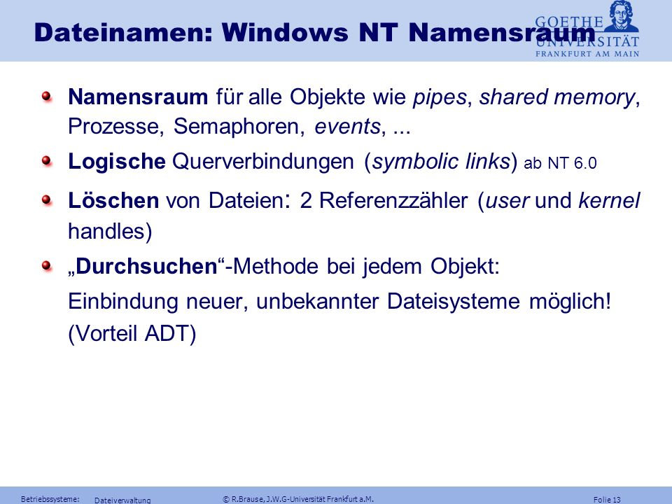 Dateinamen: Windows NT Namensraum