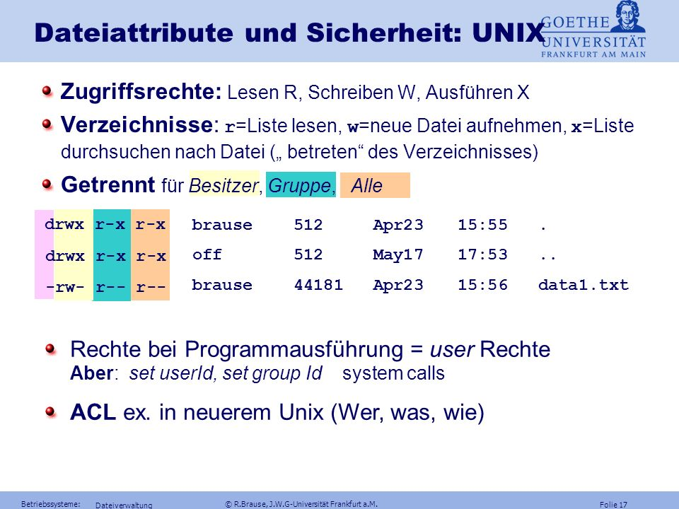 Dateiattribute und Sicherheit: UNIX