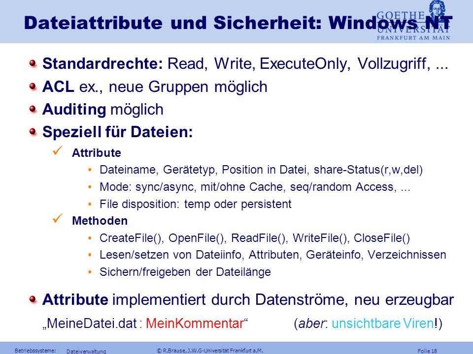 Dateiattribute und Sicherheit: Windows NT