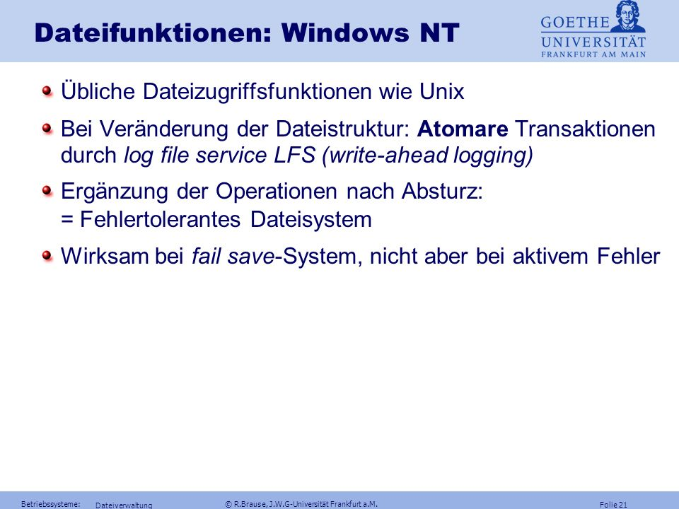 Dateifunktionen: Windows NT