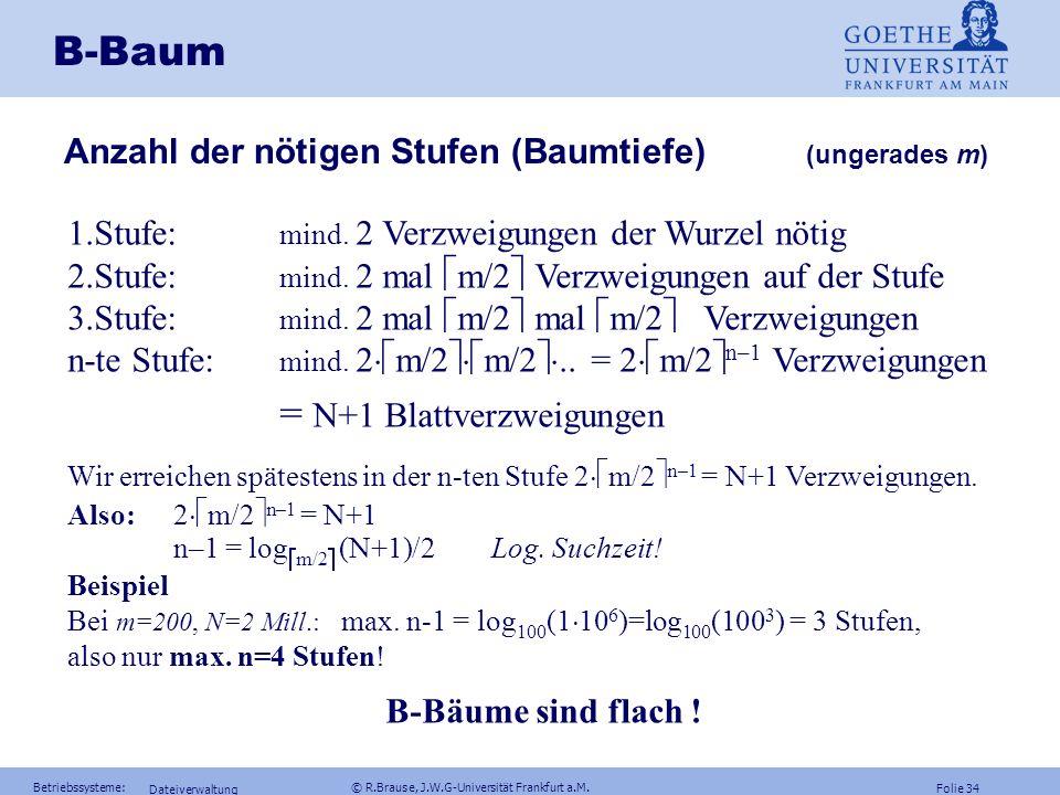 B-Baum Anzahl der nötigen Stufen (Baumtiefe) (ungerades m)