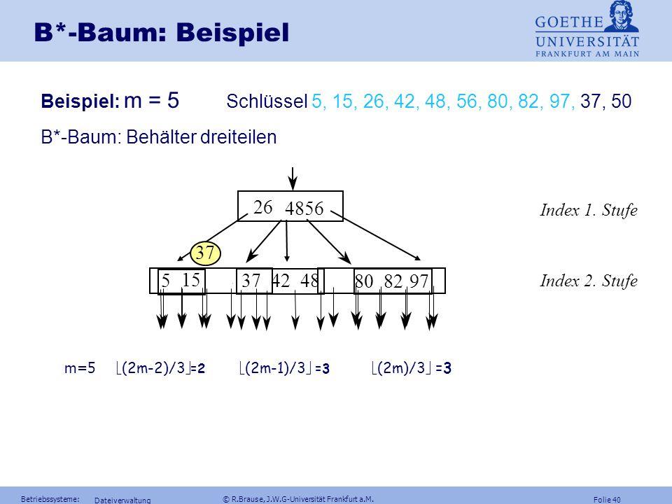 B*-Baum: Beispiel Beispiel: m = 5 Schlüssel 5, 15, 26, 42, 48, 56, 80, 82, 97, 37, 50. B*-Baum: Behälter dreiteilen.