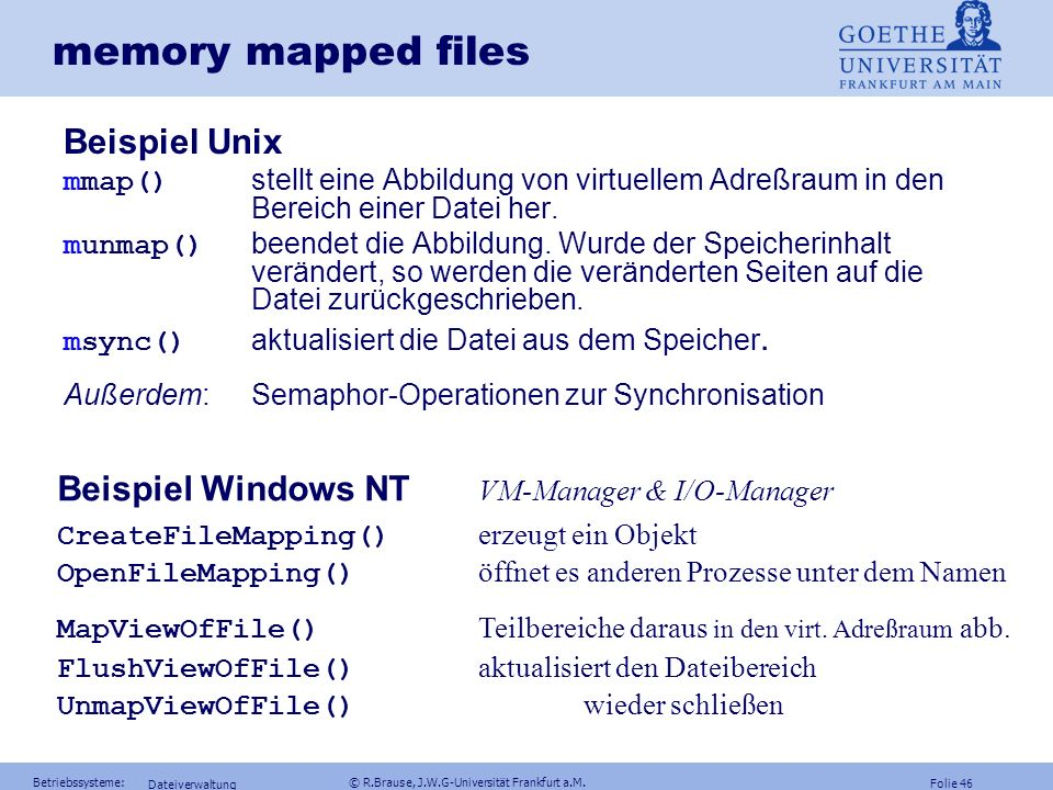 memory mapped files Beispiel Unix