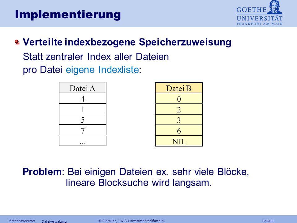 Implementierung Verteilte indexbezogene Speicherzuweisung