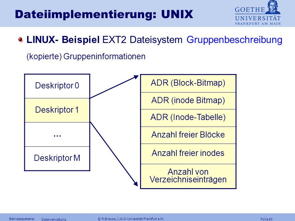Dateiimplementierung: UNIX