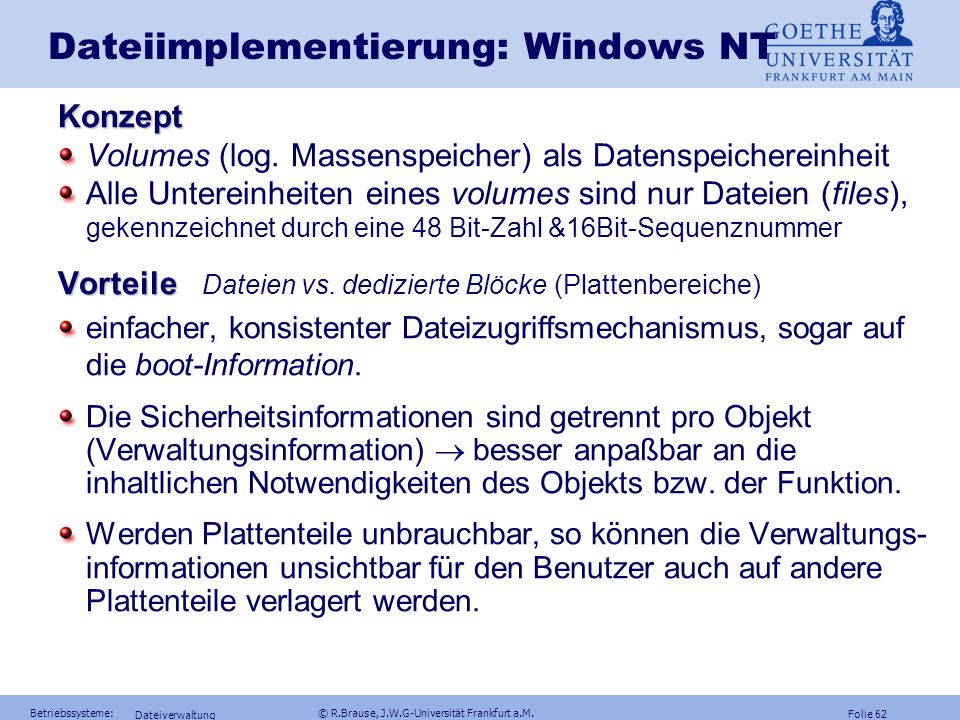 Dateiimplementierung: Windows NT