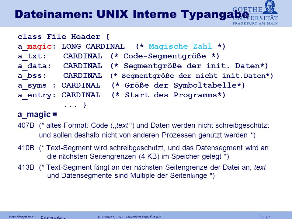 Dateinamen: UNIX Interne Typangabe