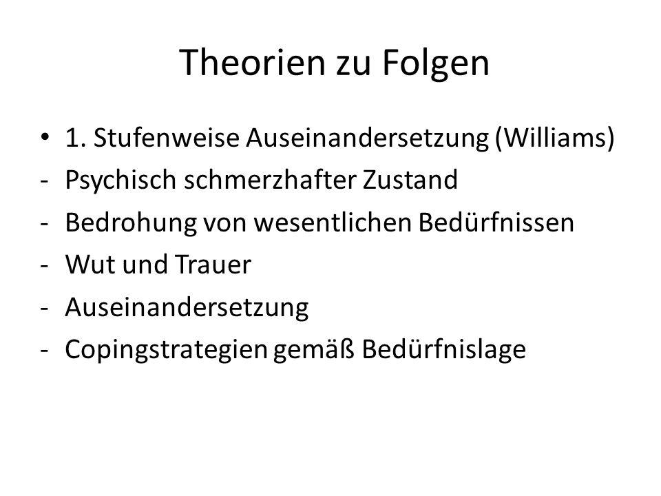 Theorien zu Folgen 1. Stufenweise Auseinandersetzung (Williams)