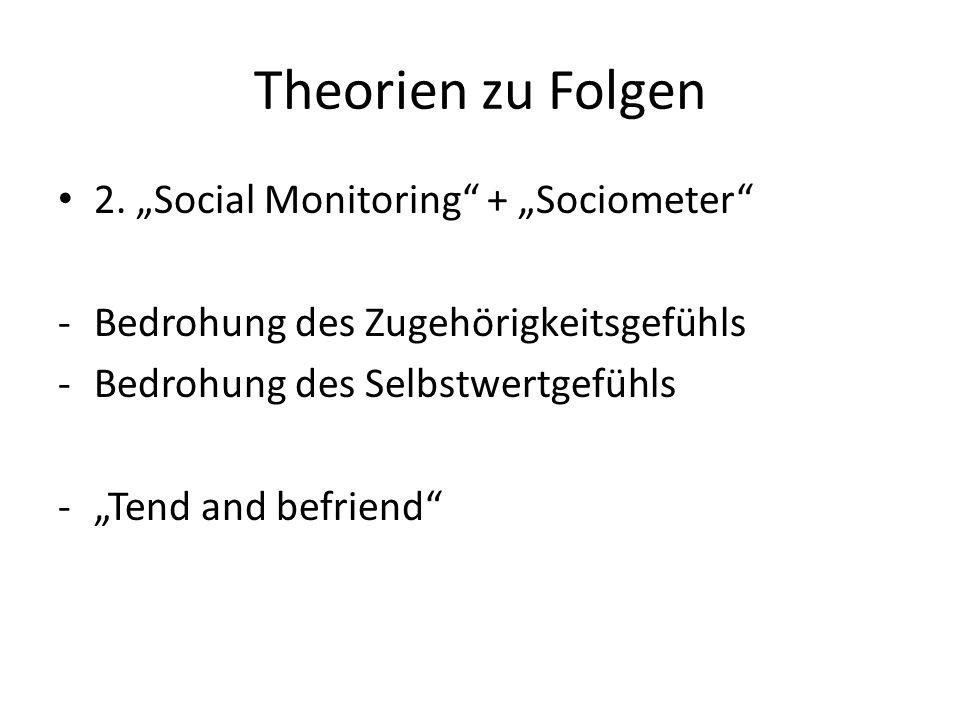 """Theorien zu Folgen 2. """"Social Monitoring + """"Sociometer"""