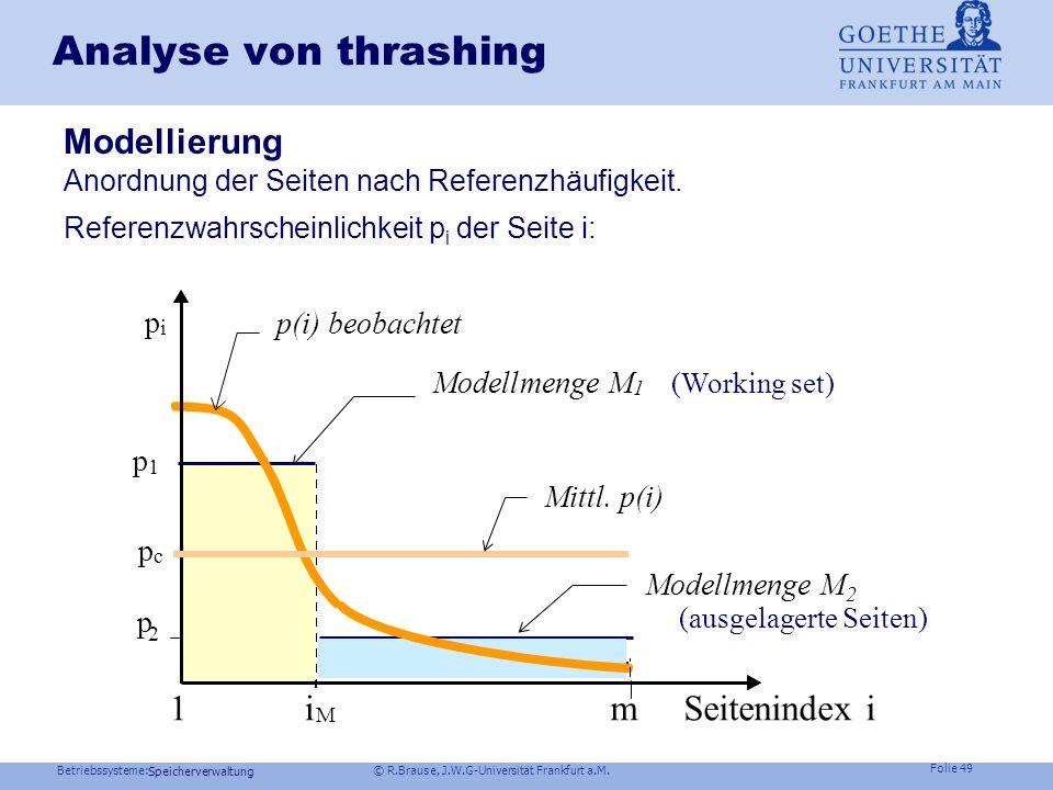 Analyse von thrashing 1 i m Seitenindex i Modellierung p