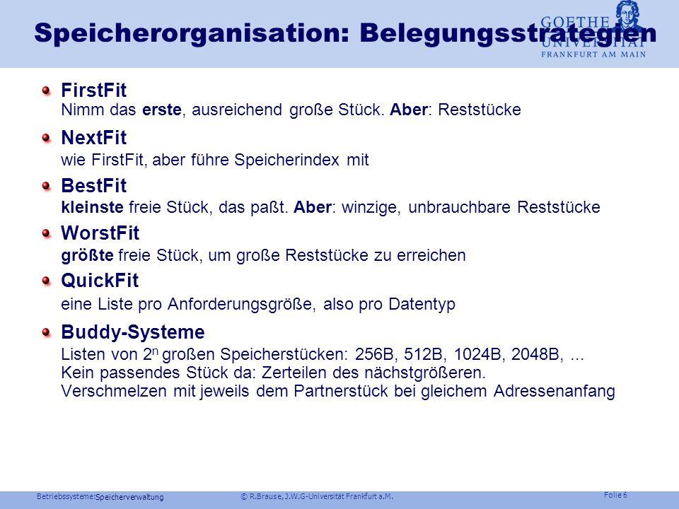Speicherorganisation: Belegungsstrategien