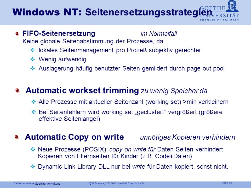 Windows NT: Seitenersetzungsstrategien