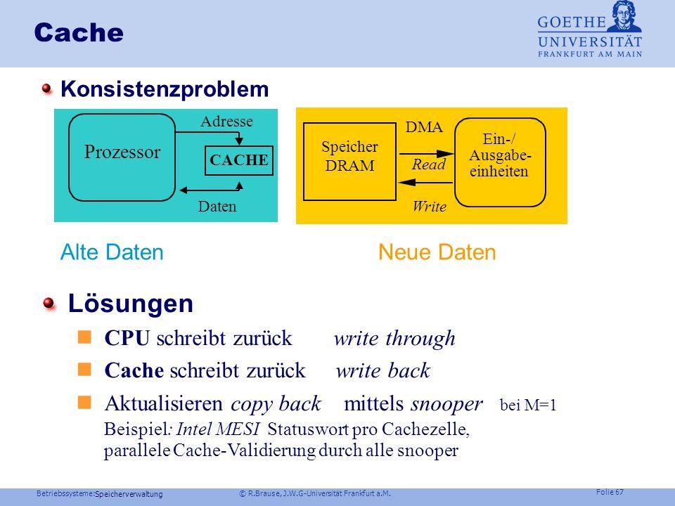 Cache Lösungen Konsistenzproblem Alte Daten Neue Daten