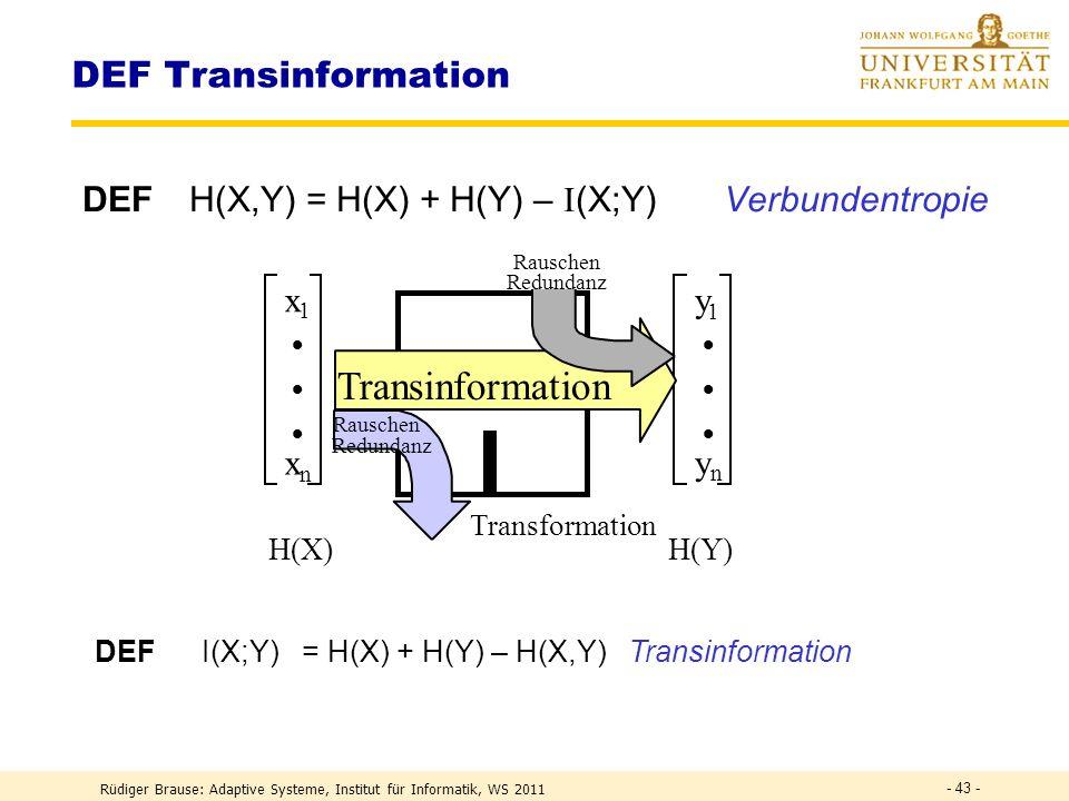 DEF I(X;Y) = H(X) + H(Y) – H(X,Y) Transinformation