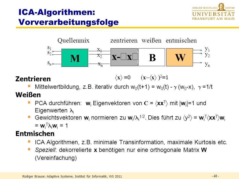 ICA-Algorithmen: Vorverarbeitungsfolge