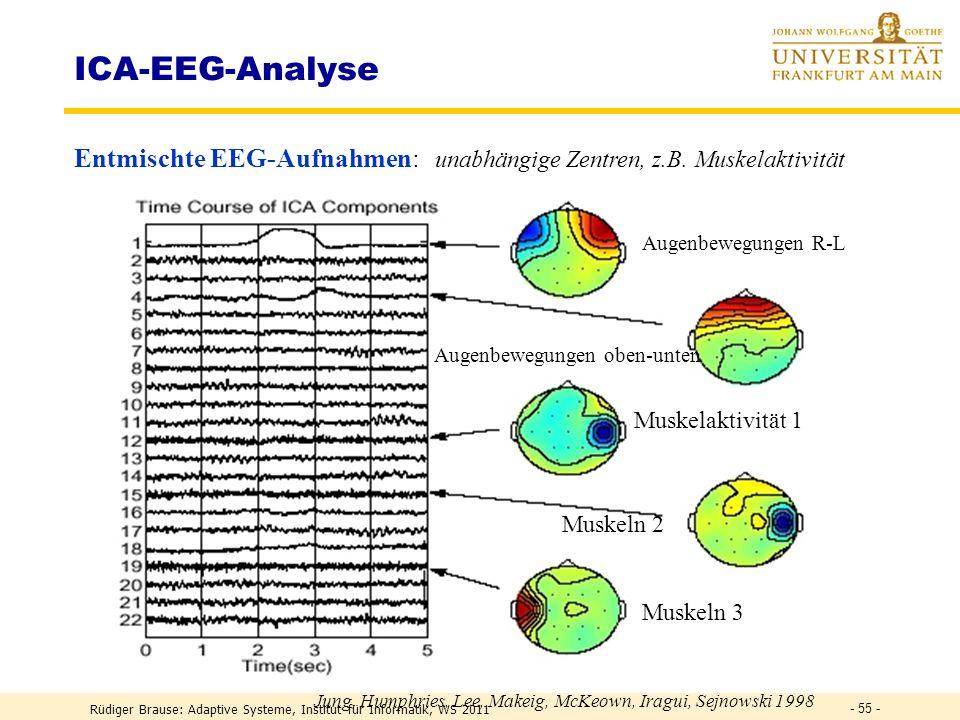 ICA-EEG-Analyse Entmischte EEG-Aufnahmen: unabhängige Zentren, z.B. Muskelaktivität. Augenbewegungen R-L.