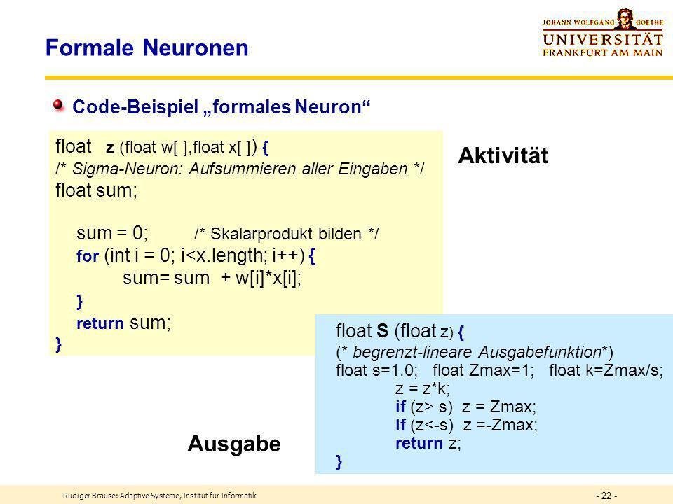 """Formale Neuronen Aktivität Ausgabe Code-Beispiel """"formales Neuron"""