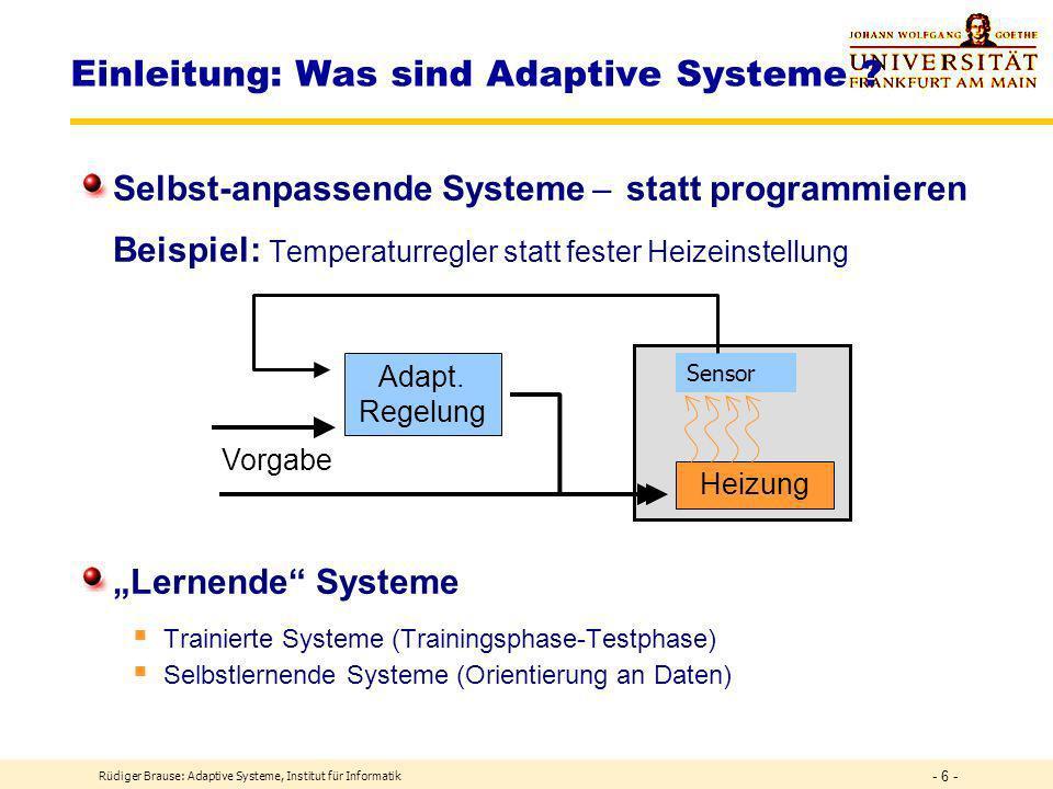 Einleitung: Was sind Adaptive Systeme