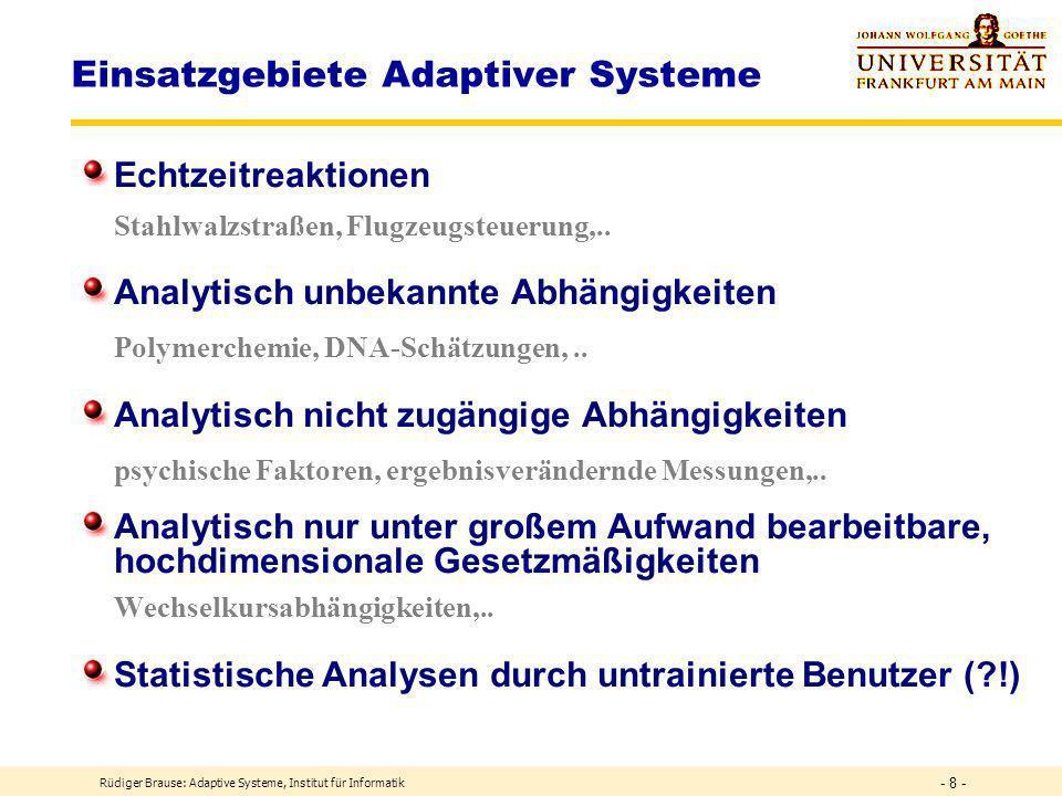 Einsatzgebiete Adaptiver Systeme