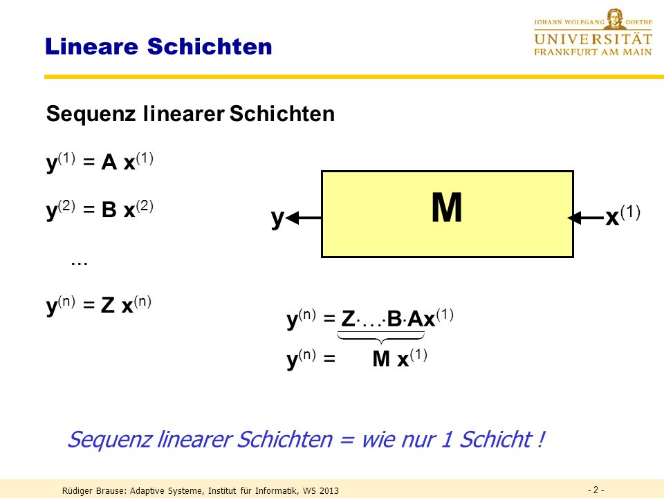 M Z B A y x(1) Lineare Schichten Sequenz linearer Schichten