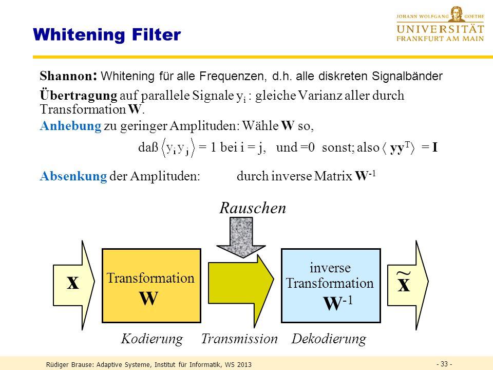 ~ x x W W-1 Whitening Filter Rauschen inverse Transformation