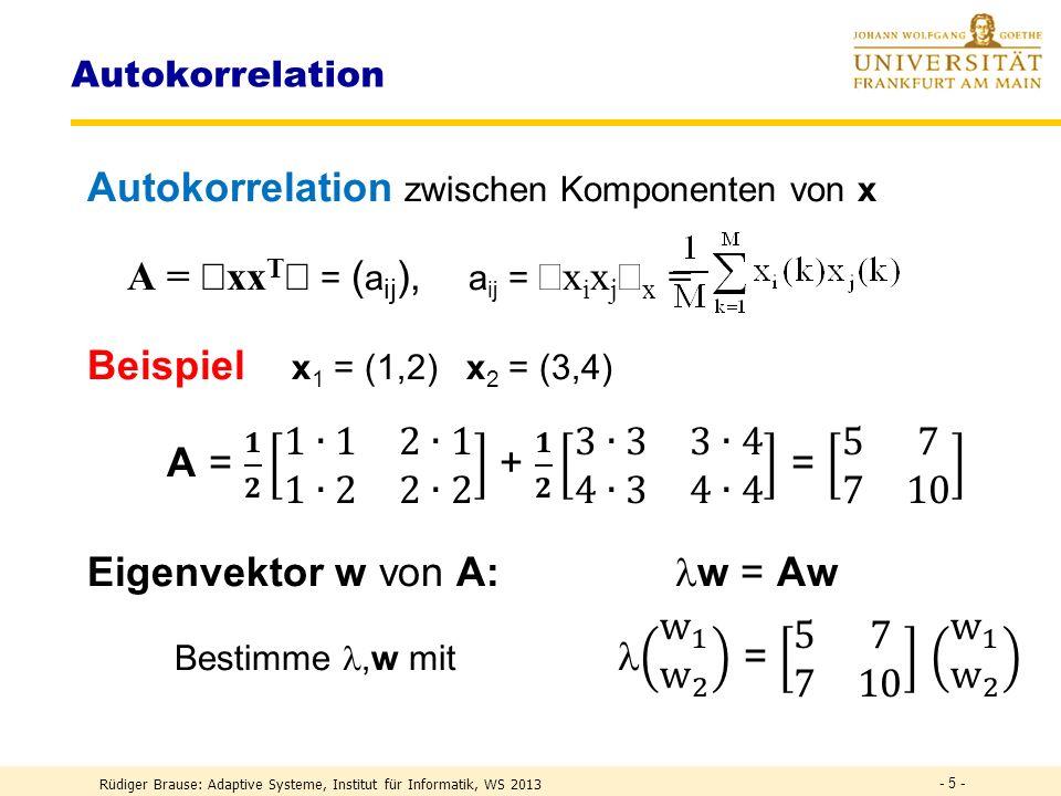 Autokorrelation zwischen Komponenten von x