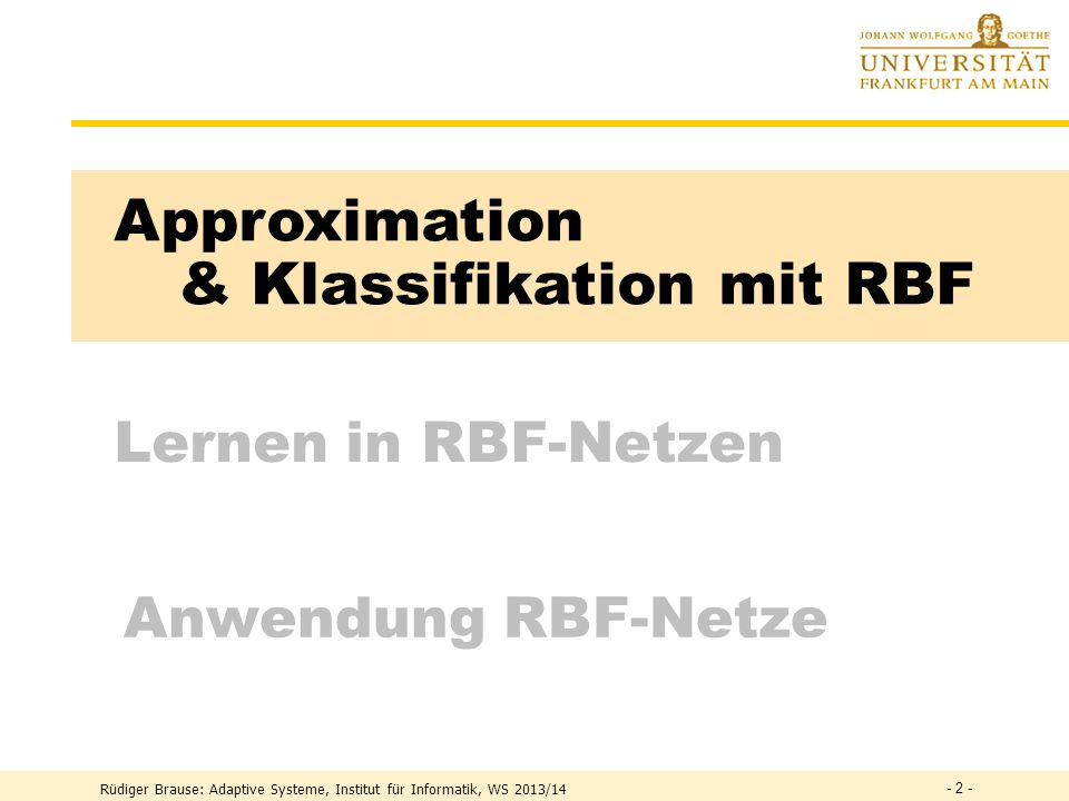 & Klassifikation mit RBF