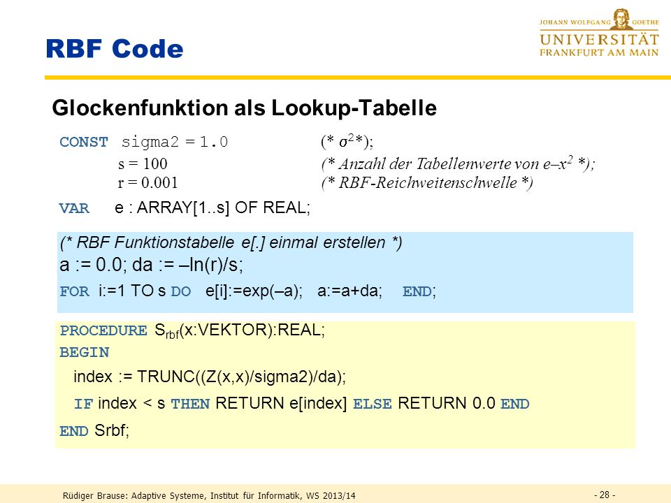 RBF Code Glockenfunktion als Lookup-Tabelle a := 0.0; da := –ln(r)/s;