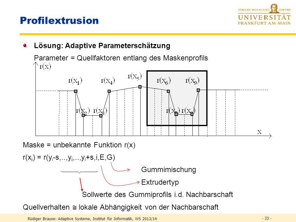 Profilextrusion Lösung: Adaptive Parameterschätzung