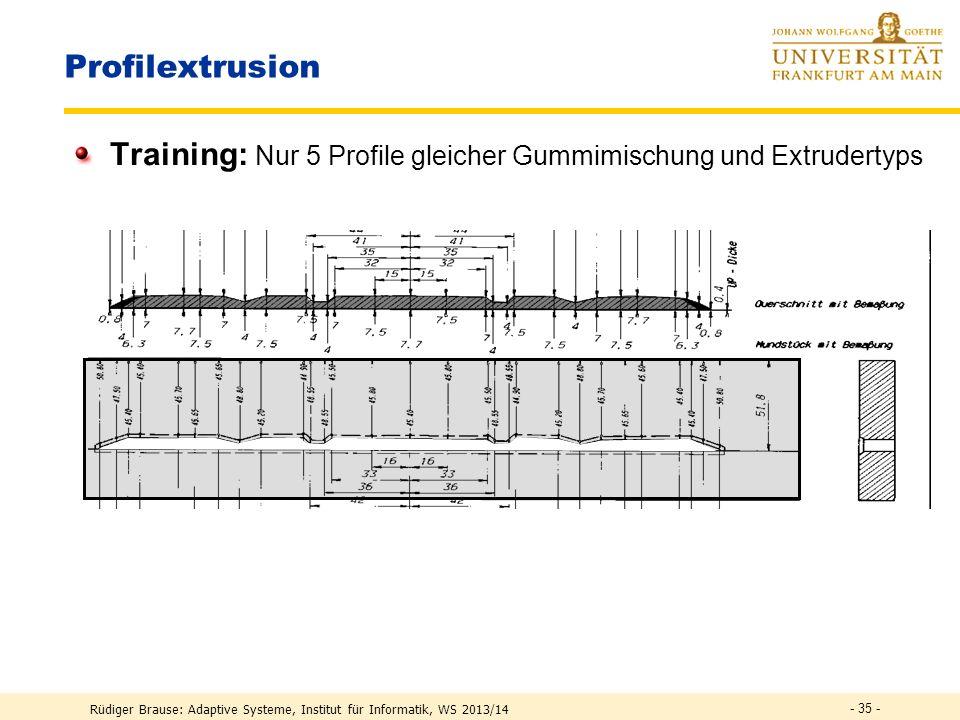 Training: Nur 5 Profile gleicher Gummimischung und Extrudertyps