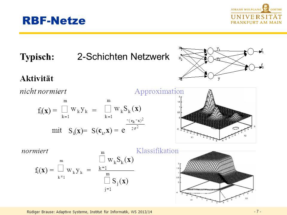 RBF-Netze å å Typisch: 2-Schichten Netzwerk Aktivität e