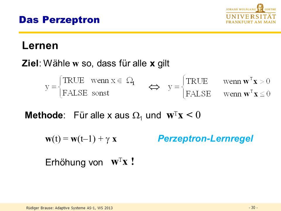 Lernen  wTx ! Das Perzeptron Ziel: Wähle w so, dass für alle x gilt