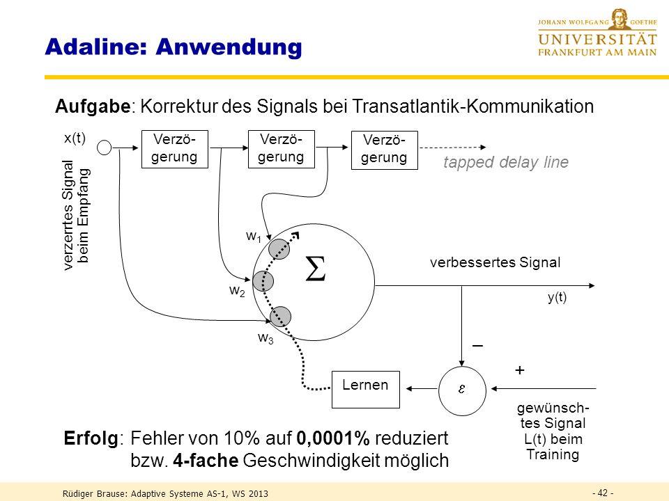 Adaline: Anwendung Aufgabe: Korrektur des Signals bei Transatlantik-Kommunikation. w3. w2. w1. Verzö- gerung.