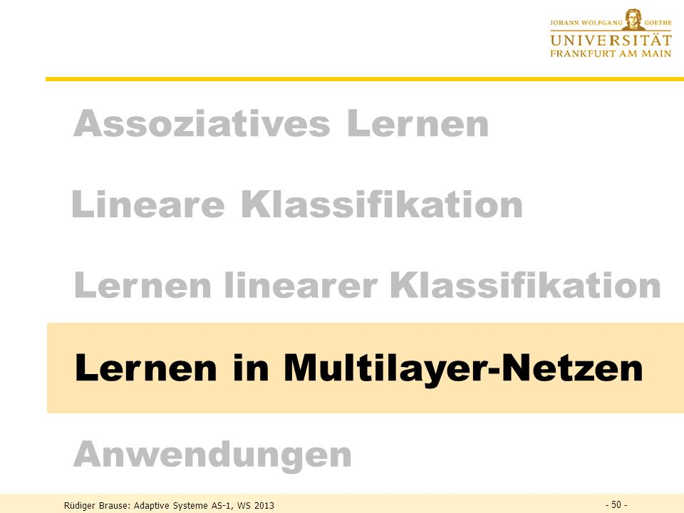 Lernen in Multilayer-Netzen
