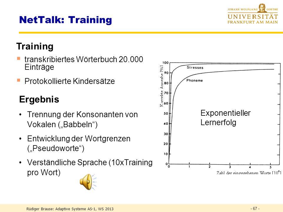 NetTalk: Training Training Ergebnis