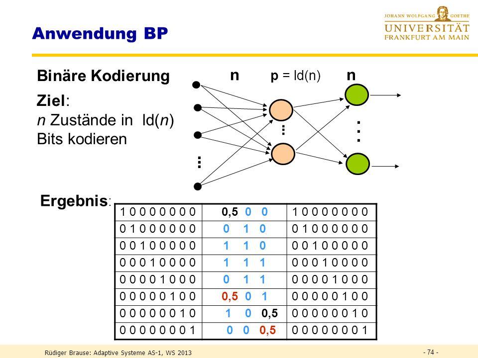 Anwendung BP n p = ld(n) n Binäre Kodierung Ziel: