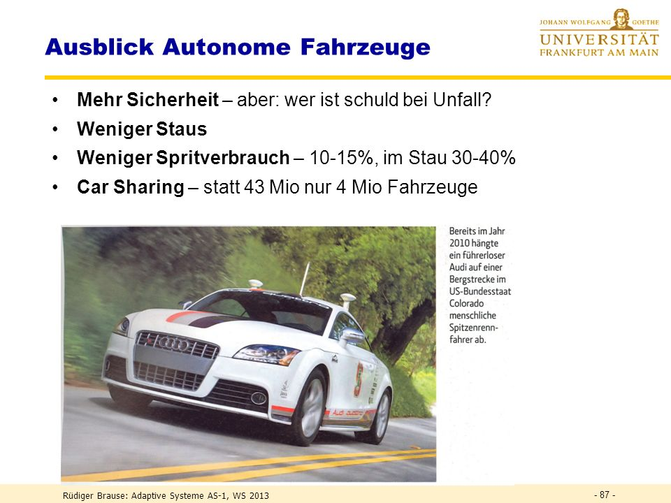 Ausblick Autonome Fahrzeuge
