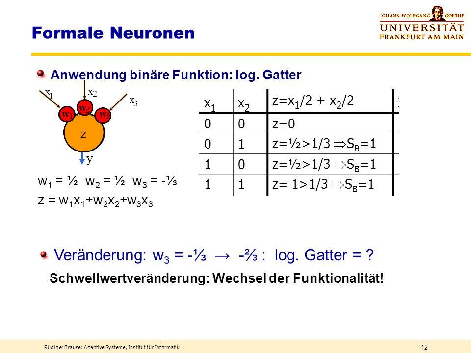 Formale Neuronen Veränderung: w3 = -⅓ → -⅔ : log. Gatter =