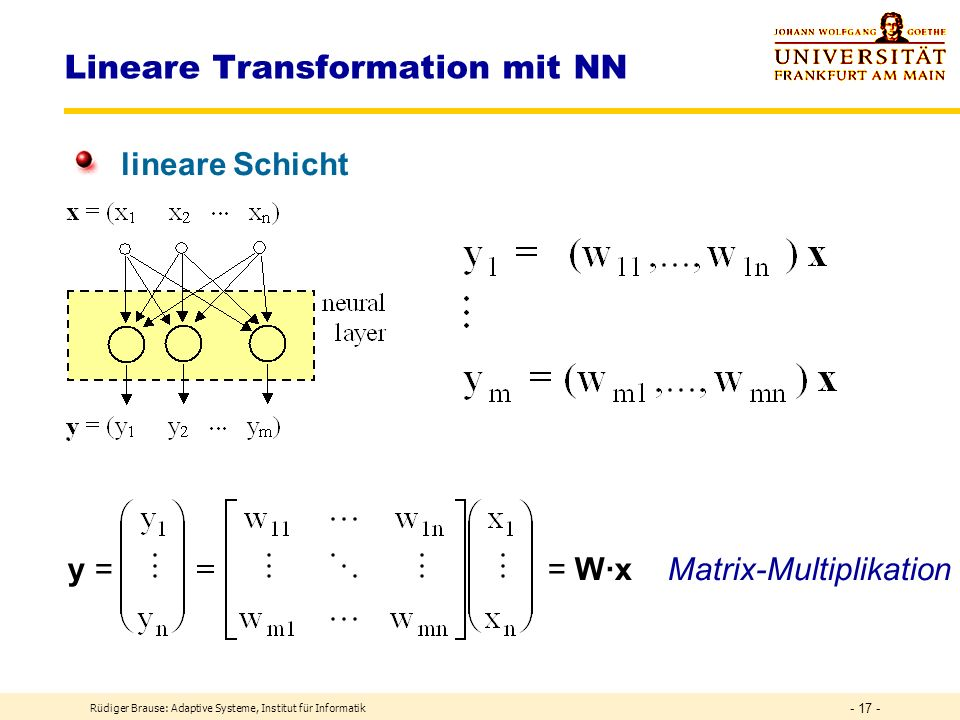 Lineare Transformation mit NN