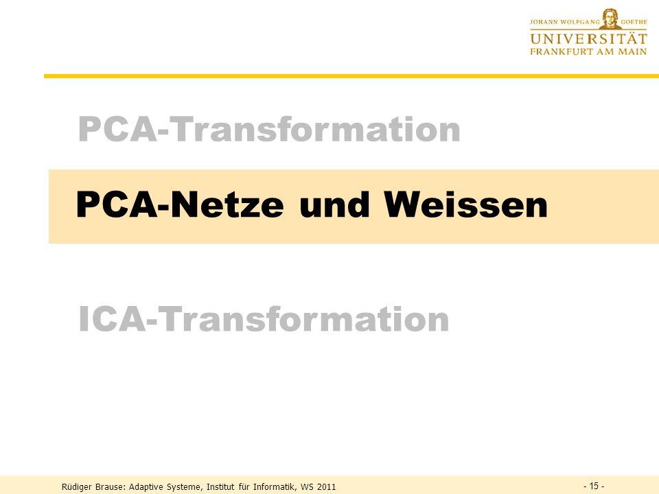 PCA-Netze und Weissen PCA-Transformation ICA-Transformation