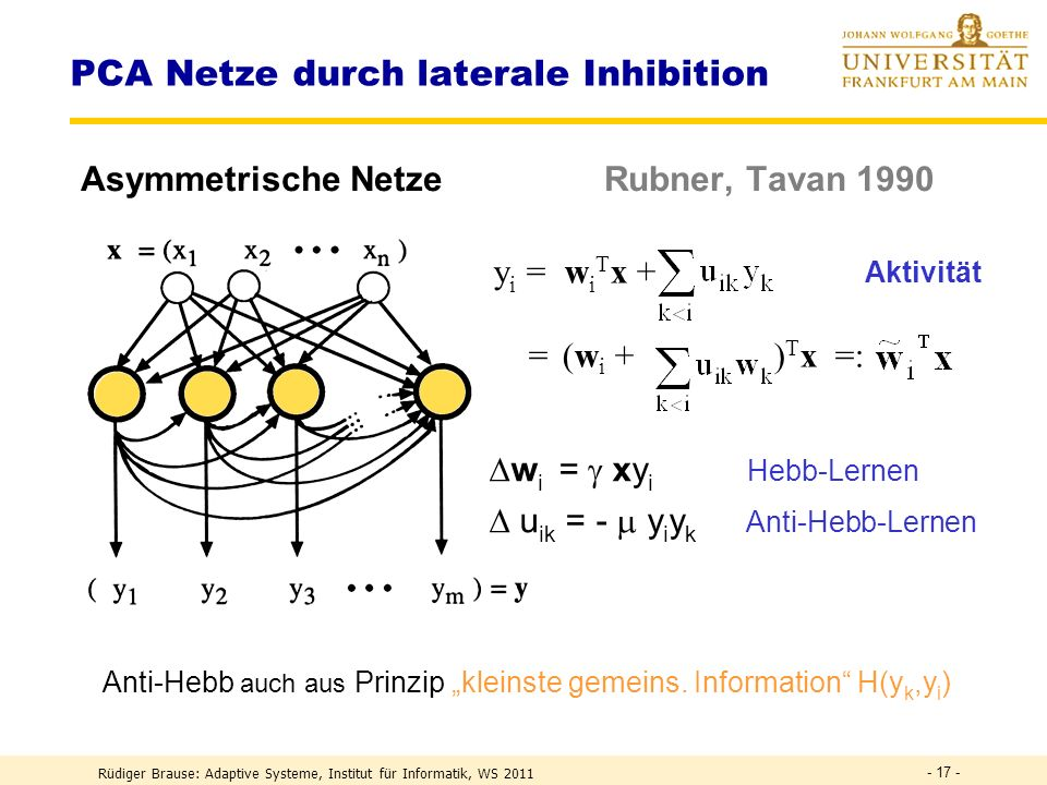 PCA Netze durch laterale Inhibition